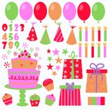 Birthday icons. Different birthday icons like balloons candles numbers hats stars Royalty Free Stock Photo