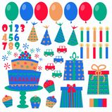 Birthday icons. Different birthday icons like ballons hats candles numbers Royalty Free Stock Photos