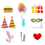 Birthday icons Stock Images