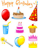 BIRTHDAY ICONS. Set of Icons -  party events Stock Photos