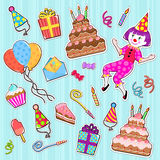 Birthday icons. Collection of colorful birthday icons Royalty Free Stock Photo
