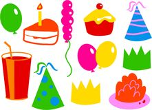 Birthday Icons. Birthday party things Stock Photography