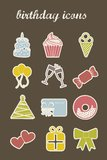 Birthday icons Royalty Free Stock Images