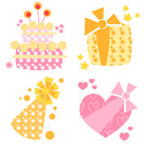 Birthday icons. Four birthday icons showing a hat, two gifts and a cake Stock Images