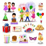Birthday icons and clip arts isolated on a white background. Birthday icons and clip arts like party, guests, balloons, invitation, cake isolated on a white Stock Photo