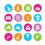 Birthday icons Royalty Free Stock Photography
