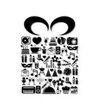 Birthday icons with gift Stock Photography