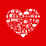 Birthday icons with heart Stock Photography