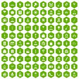 100 birthday icons hexagon green. 100 birthday icons set in green hexagon isolated vector illustration Stock Image