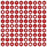 100 birthday icons hexagon red. 100 birthday icons set in red hexagon isolated vector illustration Royalty Free Stock Photo