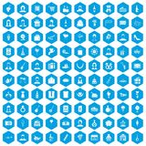100 birthday icons set blue. 100 birthday icons set in blue hexagon isolated vector illustration Royalty Free Illustration