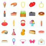 Birthday icons set, cartoon style. Birthday icons set. Cartoon set of 25 birthday vector icons for web isolated on white background Stock Images