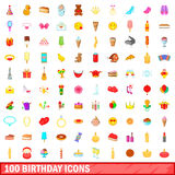 100 birthday icons set, cartoon style Stock Photo