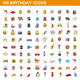 100 birthday icons set, cartoon style. 100 birthday icons set in cartoon style for any design vector illustration Royalty Free Stock Photography