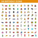 100 birthday icons set, cartoon style. 100 birthday icons set in cartoon style for any design illustration vector illustration