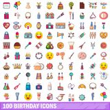 100 birthday icons set, cartoon style. 100 birthday icons set. Cartoon illustration of 100 birthday vector icons isolated on white background Royalty Free Stock Photos