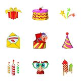 Birthday icons set, cartoon style Stock Photos