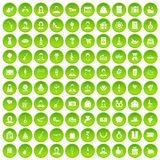 100 birthday icons set green circle. Isolated on white background vector illustration Royalty Free Stock Photos