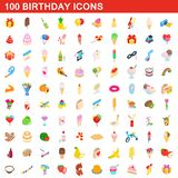 100 birthday icons set, isometric 3d style. 100 birthday icons set in isometric 3d style for any design illustration vector illustration
