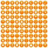 100 birthday icons set orange. 100 birthday icons set in orange circle isolated on white vector illustration vector illustration