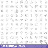 100 birthday icons set, outline style. 100 birthday icons set in outline style for any design vector illustration Stock Images