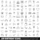 100 birthday icons set, outline style. 100 birthday set in outline style for any design vector illustration Stock Photography