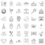 Birthday icons set, outline style. Birthday icons set. Outline style of 36 birthday vector icons for web isolated on white background Royalty Free Stock Photos