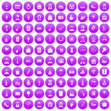 100 birthday icons set purple. 100 birthday icons set in purple circle isolated on white vector illustration Stock Photography