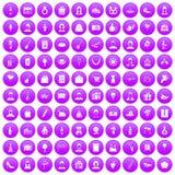 100 birthday icons set purple. 100 birthday icons set in purple circle isolated on white vector illustration stock illustration