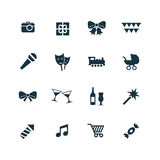 Birthday icons set Royalty Free Stock Photo