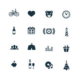 Birthday icons set Royalty Free Stock Photography