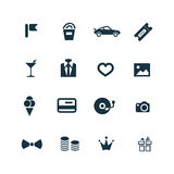 Birthday icons set. On white background Royalty Free Stock Images