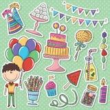 Birthday Icons Stickers Set Stock Photography