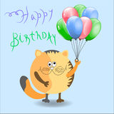 Birthday. Illustration cat cartoon, character Royalty Free Stock Photo