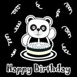 Birthday illustration with cute baby panda with birthday cake Royalty Free Stock Photography