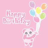 Birthday illustration with cute baby pink panda bring balloons Royalty Free Stock Photo