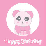 Birthday illustration with cute baby pink panda on circle frame Stock Photos