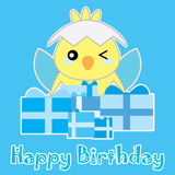 Birthday illustration with cute blue baby chick on blue background Royalty Free Stock Photo