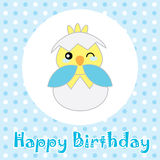 Birthday illustration with cute blue baby chick on polka dot background Stock Photo