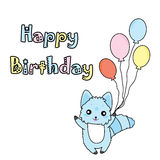 Birthday illustration with cute blue dog and balloons Royalty Free Stock Photography