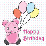 Birthday illustration with cute pink bear bring balloons Stock Photos