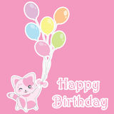 Birthday illustration with cute pink cat bring balloons on pink background Royalty Free Stock Image