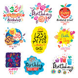Birthday illustration and logo. Royalty Free Stock Photo