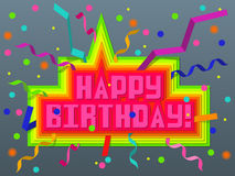 Birthday. The inscription happy birthday in the background of confetti and ribbons stock illustration
