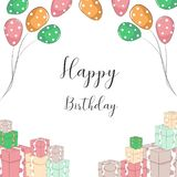 Birthday invitation with balloon and gift stock illustration