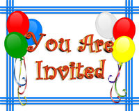 Birthday invitation Balloons border Royalty Free Stock Images