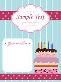 Birthday invitation with cake Royalty Free Stock Photos