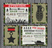Birthday Invitation. Camo Army Birthday Invitation . Vector illustration Stock Photo