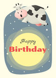 Birthday and invitation card animal background with cow Stock Photography