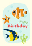 Birthday and invitation card animal background with fish Stock Photos
